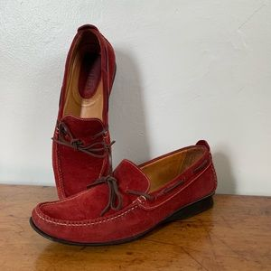 COLE HAAN RED SUEDE LOAFERS